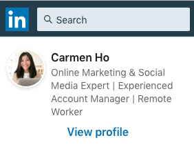 Click to View Carmen Ho's LinkedIn Profile