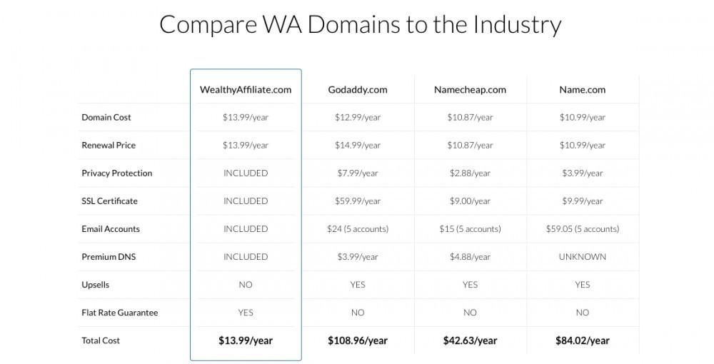 Wealthy Affiliate Domain Registration Service Comparison