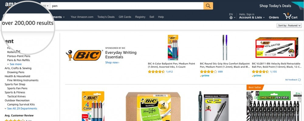Search 'pen' over 200,000 search result in Amazon