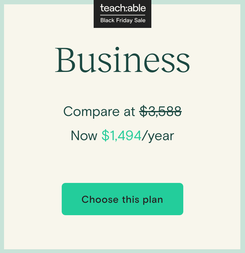 Teachable Black Friday 2020 Offer Price Business
