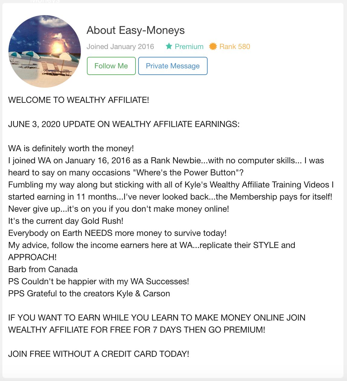 Wealthy Affiliate Testimonial Easy Money