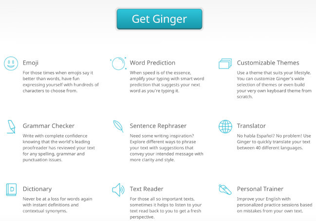 Ginger Software Features - openup-opportunities.com